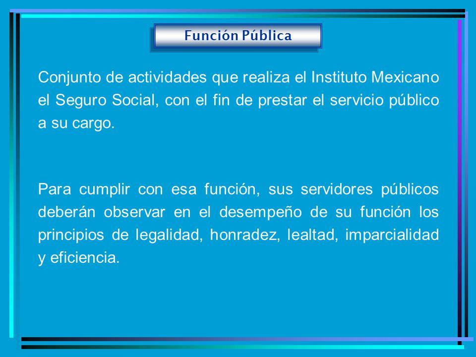Función Pública Conjunto de actividades que realiza el Instituto Mexicano el Seguro Social, con el fin de prestar el servicio público a su cargo. Para