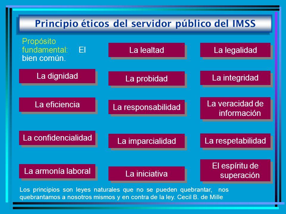 Principio éticos del servidor público del IMSS Propósito fundamental: El bien común. La legalidad La lealtad La probidad La integridad La dignidad La