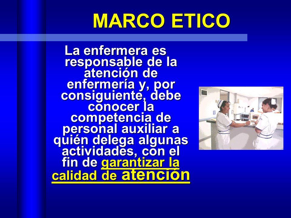 La Enfermera tiene responsabilidad legal por las acciones, decisiones y criterios que se aplican en la atención de enfermería directa ó de apoyo MARCO