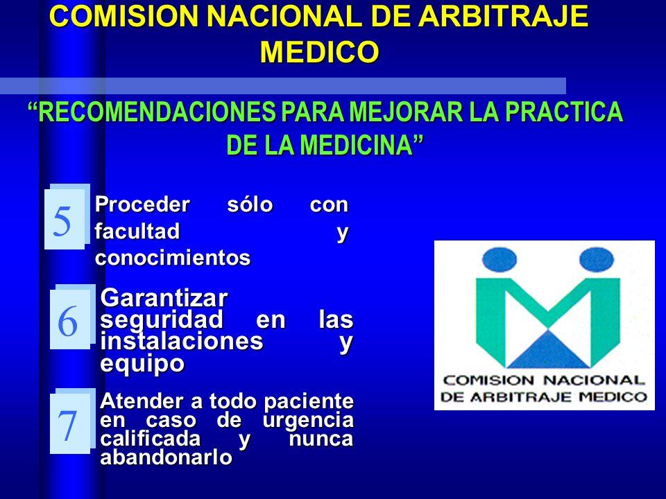 COMISION NACIONAL DE ARBITRAJE MEDICO RECOMENDACIONES PARA MEJORAR LA PRACTICA RECOMENDACIONES PARA MEJORAR LA PRACTICA DE LA MEDICINA Mantener una re