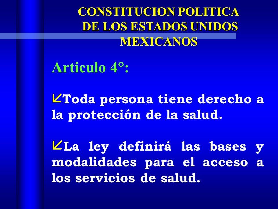 CONSTITUCION POLITICA DE LOS ESTADOS UNIDOS MEXICANOS DE LOS ESTADOS UNIDOS MEXICANOS Articulo 4°: Toda persona tiene derecho a la protección de la salud.