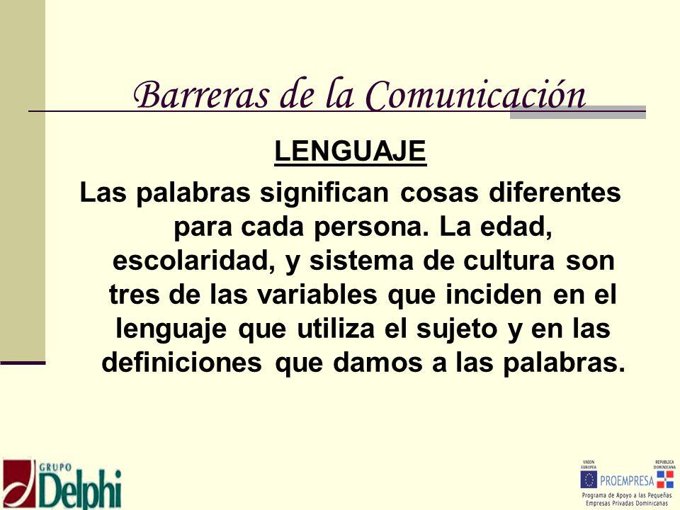 Barreras de la Comunicación LENGUAJE Las palabras significan cosas diferentes para cada persona. La edad, escolaridad, y sistema de cultura son tres d