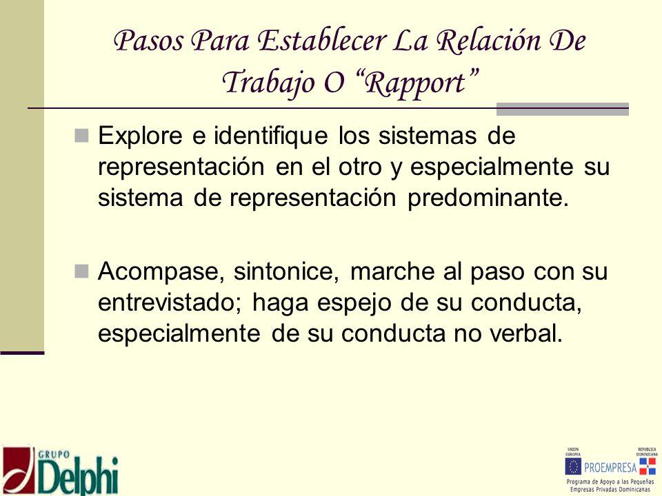 Pasos Para Establecer La Relación De Trabajo O Rapport Explore e identifique los sistemas de representación en el otro y especialmente su sistema de r