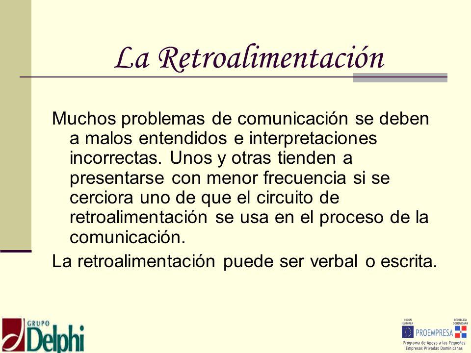 La Retroalimentación Muchos problemas de comunicación se deben a malos entendidos e interpretaciones incorrectas. Unos y otras tienden a presentarse c