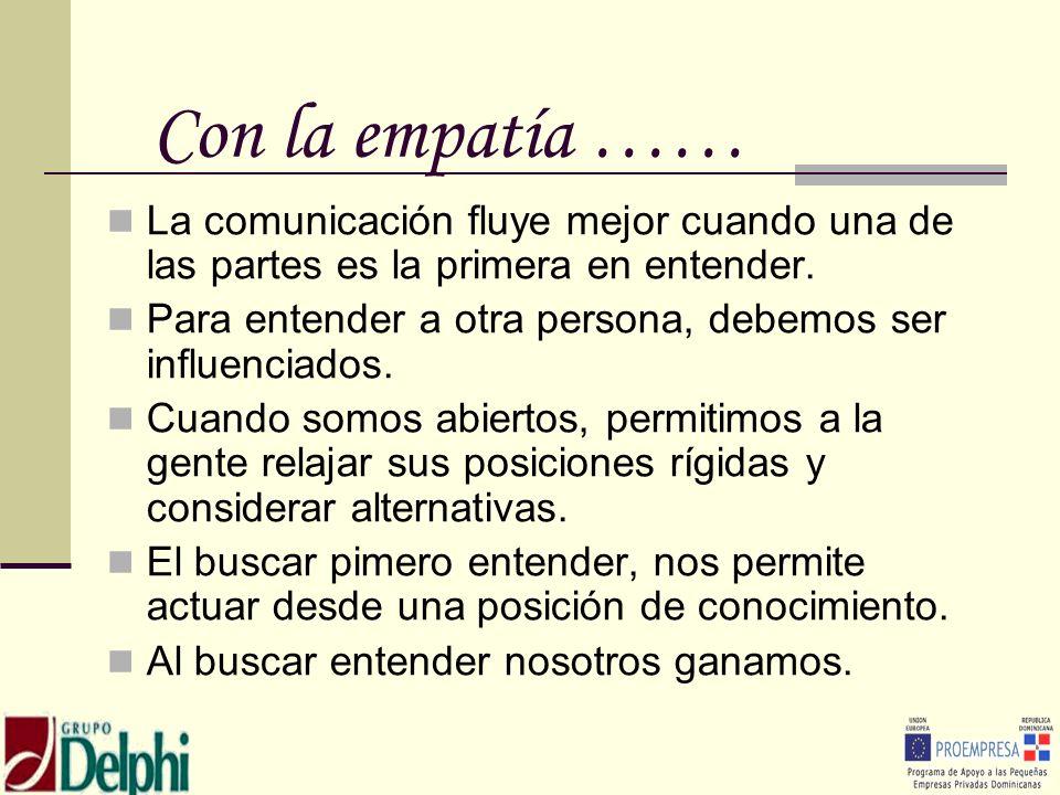 Con la empatía …… La comunicación fluye mejor cuando una de las partes es la primera en entender. Para entender a otra persona, debemos ser influencia
