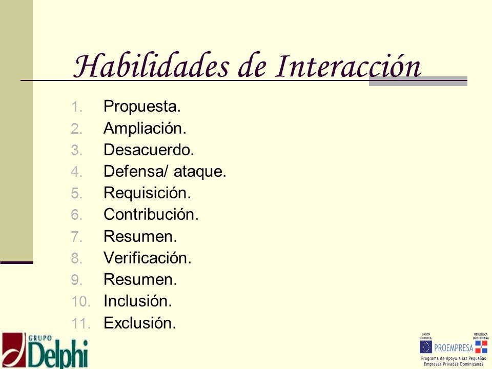 Habilidades de Interacción 1. Propuesta. 2. Ampliación. 3. Desacuerdo. 4. Defensa/ ataque. 5. Requisición. 6. Contribución. 7. Resumen. 8. Verificació