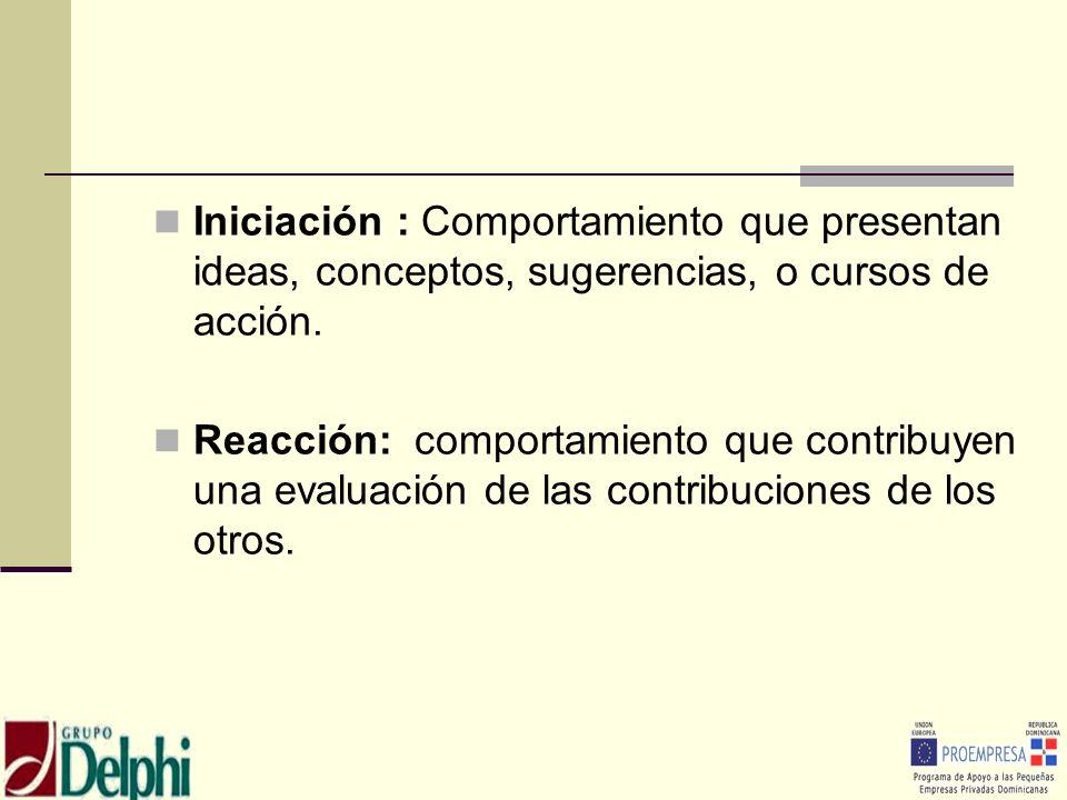 Iniciación : Comportamiento que presentan ideas, conceptos, sugerencias, o cursos de acción. Reacción: comportamiento que contribuyen una evaluación d