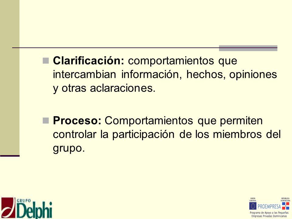 Clarificación: comportamientos que intercambian información, hechos, opiniones y otras aclaraciones. Proceso: Comportamientos que permiten controlar l