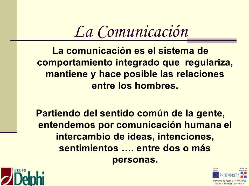 La Comunicación La comunicación es el sistema de comportamiento integrado que regulariza, mantiene y hace posible las relaciones entre los hombres. Pa