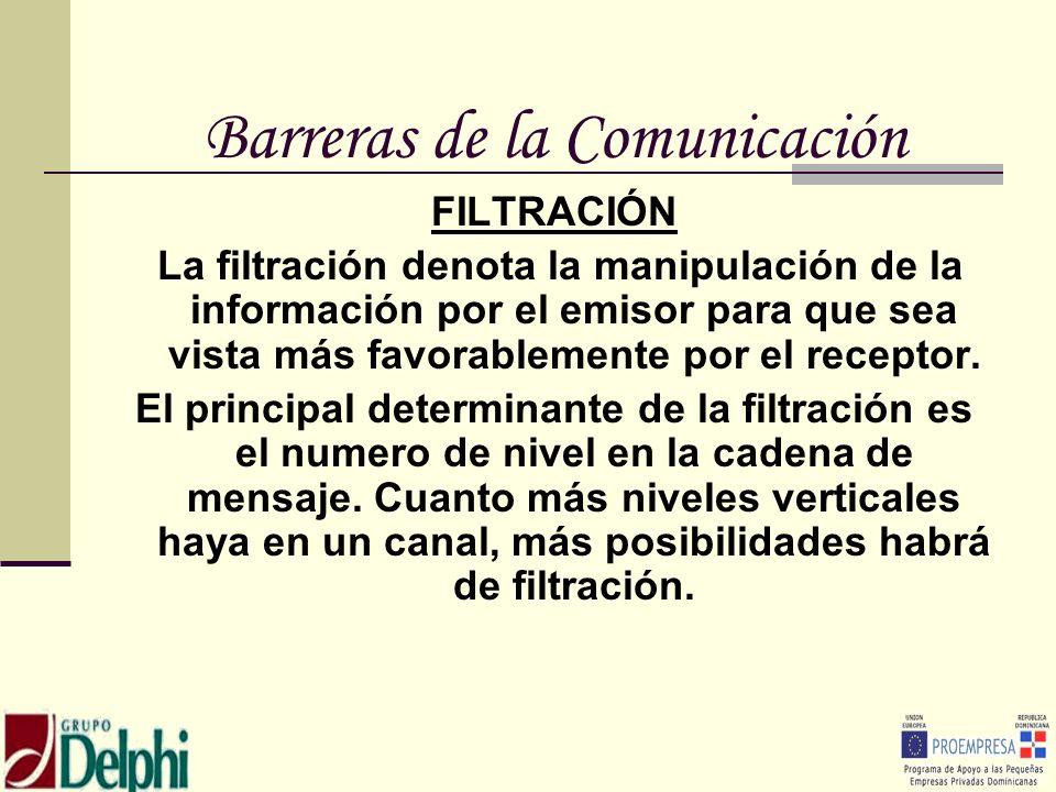 Barreras de la Comunicación FILTRACIÓN La filtración denota la manipulación de la información por el emisor para que sea vista más favorablemente por