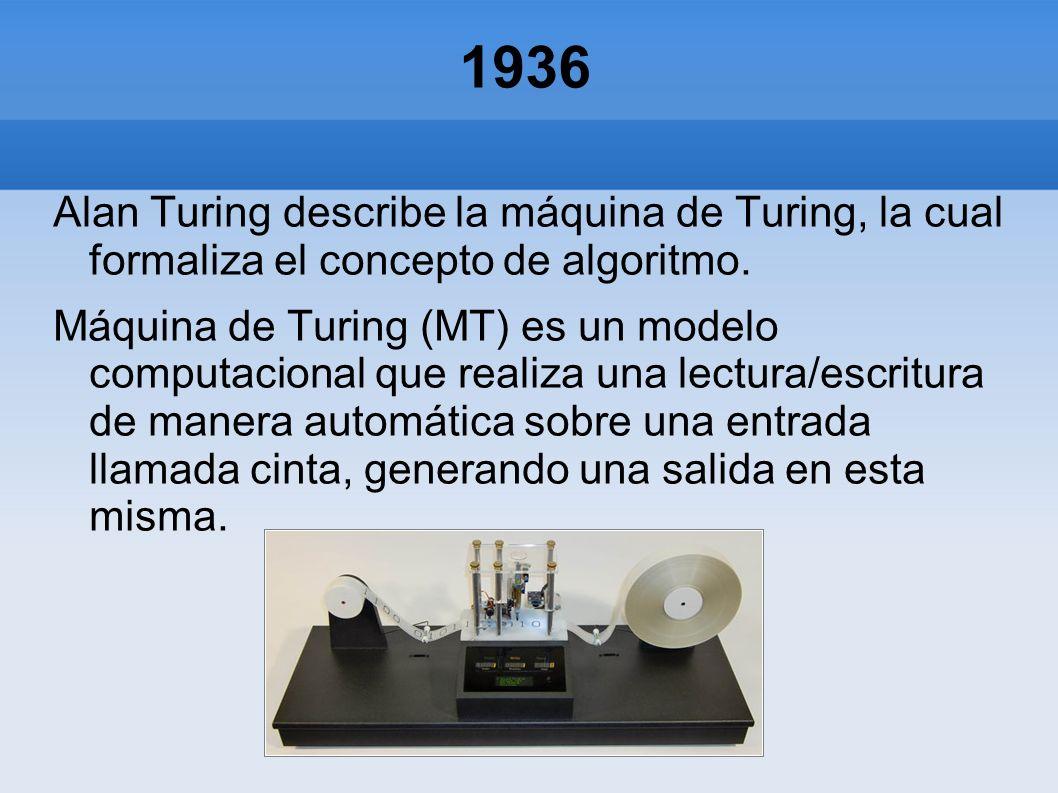 1936 Alan Turing describe la máquina de Turing, la cual formaliza el concepto de algoritmo. Máquina de Turing (MT) es un modelo computacional que real