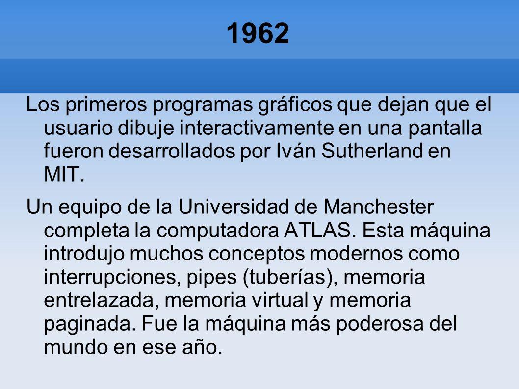 1962 Los primeros programas gráficos que dejan que el usuario dibuje interactivamente en una pantalla fueron desarrollados por Iván Sutherland en MIT.