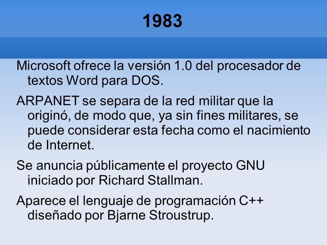 1983 Microsoft ofrece la versión 1.0 del procesador de textos Word para DOS. ARPANET se separa de la red militar que la originó, de modo que, ya sin f
