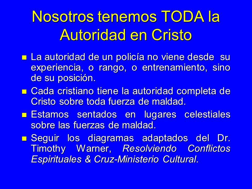 Nosotros tenemos TODA la Autoridad en Cristo n La autoridad de un policía no viene desde su experiencia, o rango, o entrenamiento, sino de su posición