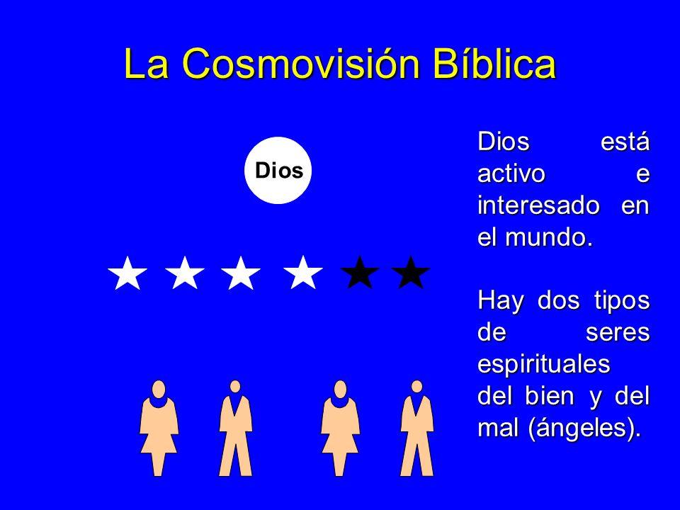 La Cosmovisión Bíblica Dios Dios está activo e interesado en el mundo. Hay dos tipos de seres espirituales del bien y del mal (ángeles).