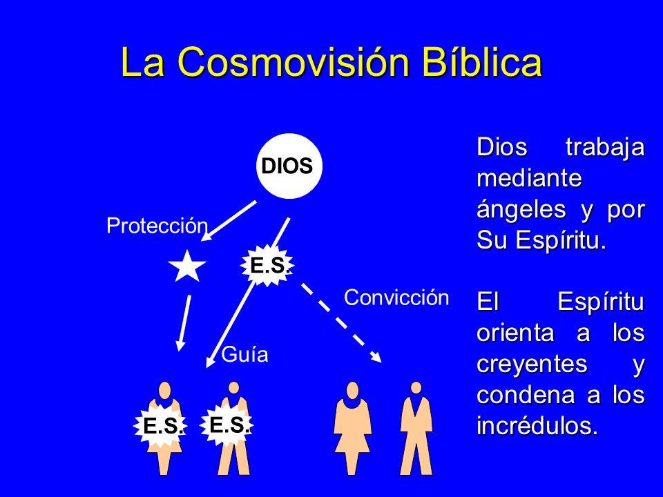 La Cosmovisión Bíblica DIOS E.S. Protección Guía Convicción Dios trabaja mediante ángeles y por Su Espíritu. El Espíritu orienta a los creyentes y con