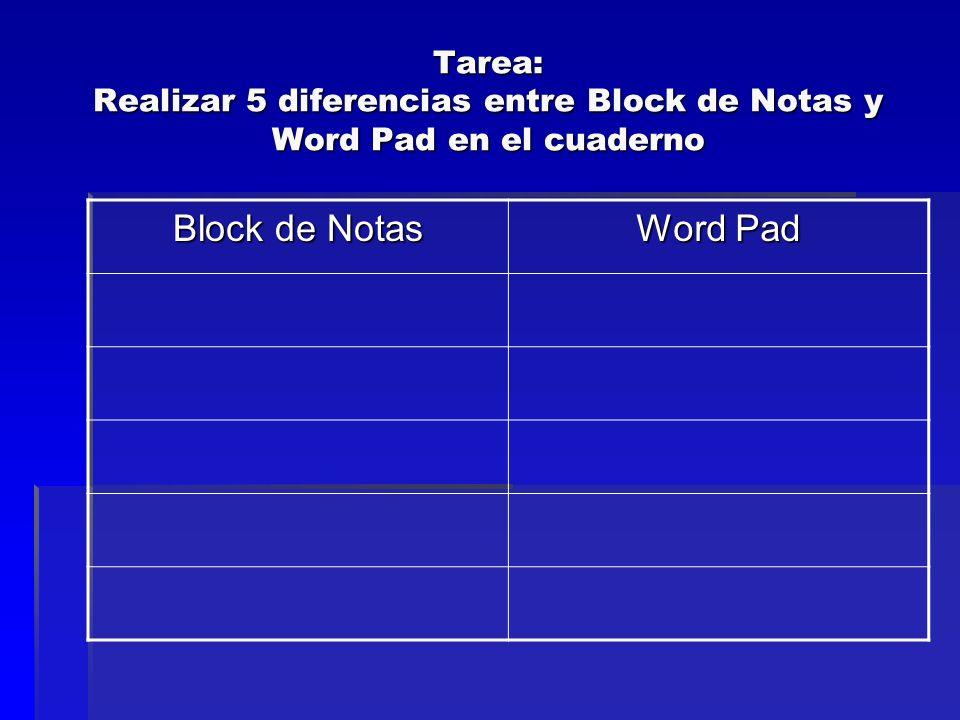 Tarea: Realizar 5 diferencias entre Block de Notas y Word Pad en el cuaderno Block de Notas Word Pad