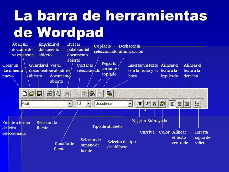 La barra de herramientas de Wordpad Crear un documento nuevo Abrir un documento ya existente Guardar el documento abierto Imprimir el documento abiert