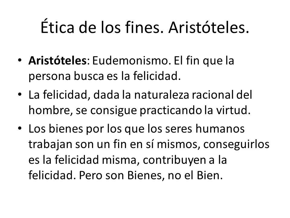 Ética de los fines. Aristóteles. Aristóteles: Eudemonismo. El fin que la persona busca es la felicidad. La felicidad, dada la naturaleza racional del