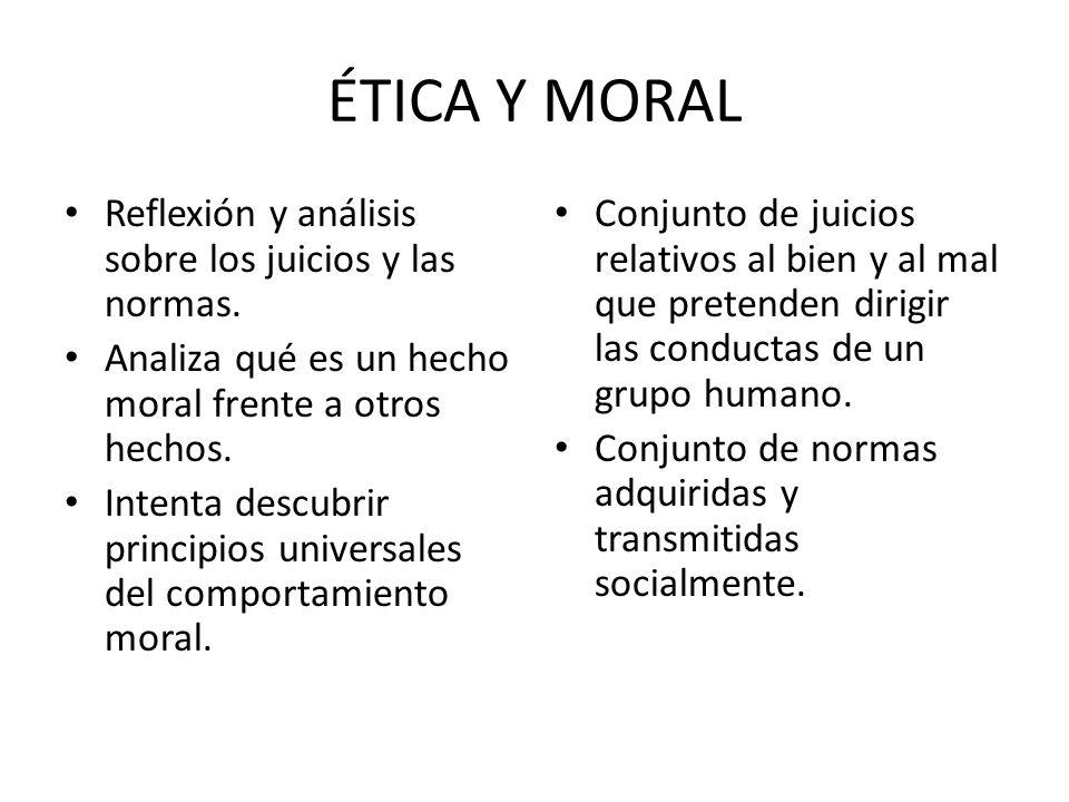ÉTICA Y MORAL Reflexión y análisis sobre los juicios y las normas. Analiza qué es un hecho moral frente a otros hechos. Intenta descubrir principios u