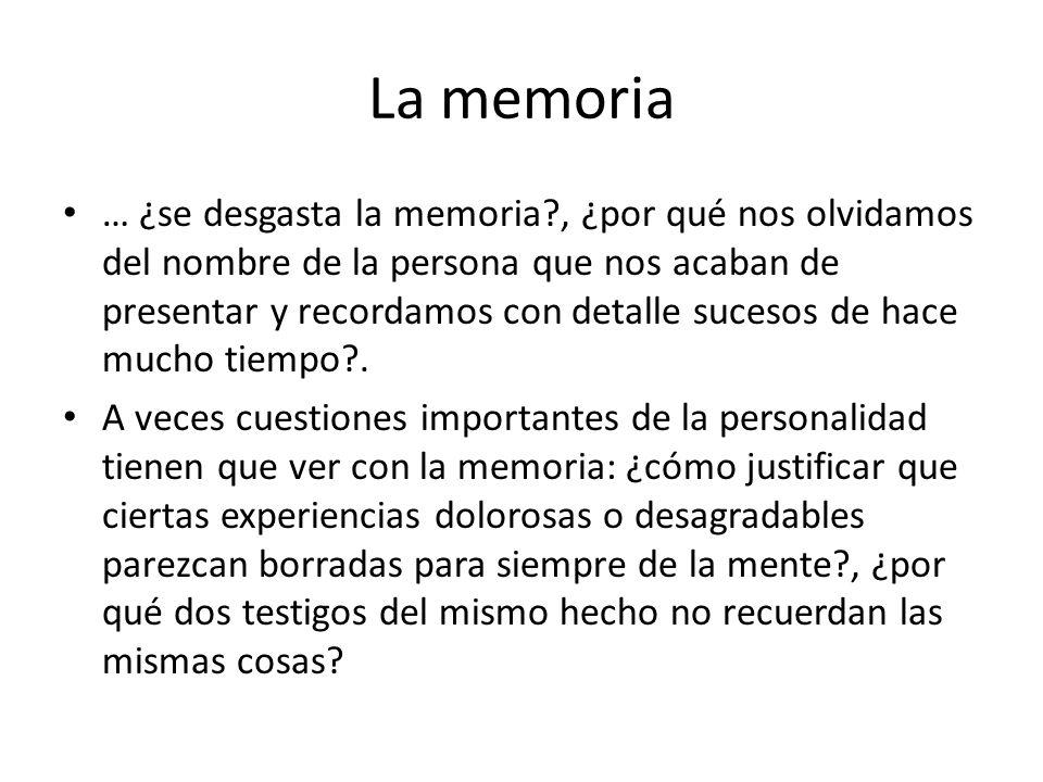 La memoria … ¿se desgasta la memoria?, ¿por qué nos olvidamos del nombre de la persona que nos acaban de presentar y recordamos con detalle sucesos de