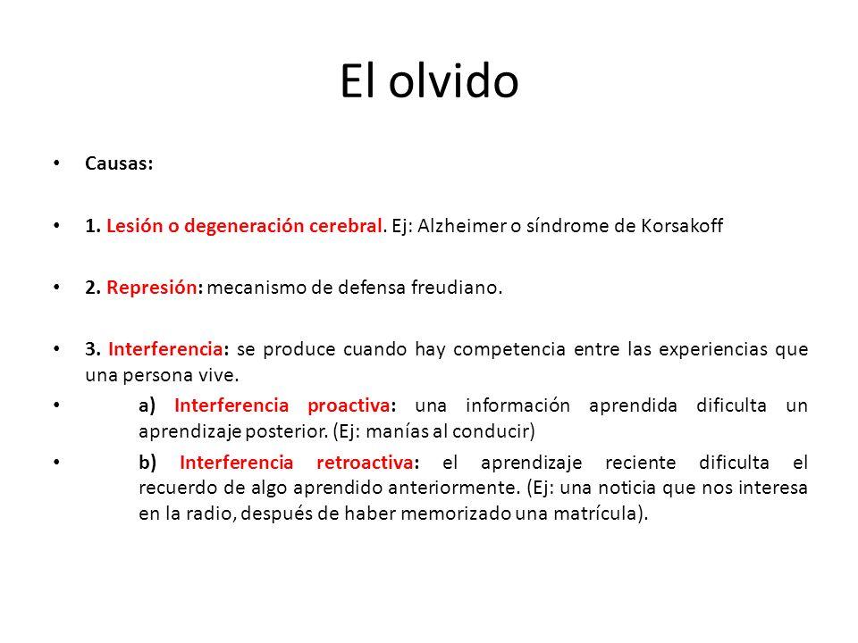 El olvido Causas: 1. Lesión o degeneración cerebral. Ej: Alzheimer o síndrome de Korsakoff 2. Represión: mecanismo de defensa freudiano. 3. Interferen