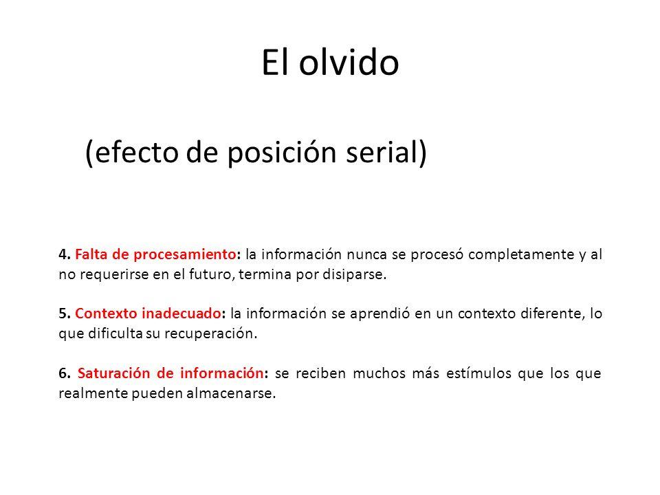 4. Falta de procesamiento: la información nunca se procesó completamente y al no requerirse en el futuro, termina por disiparse. 5. Contexto inadecuad
