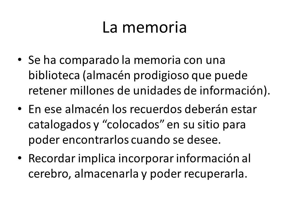 La memoria Se ha comparado la memoria con una biblioteca (almacén prodigioso que puede retener millones de unidades de información). En ese almacén lo