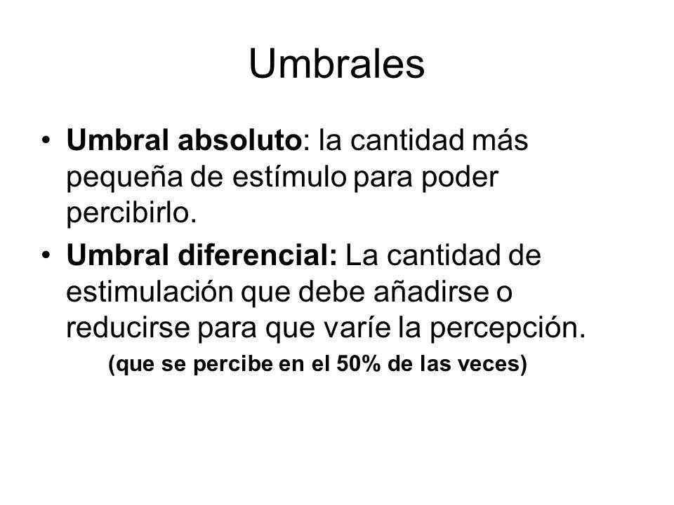 Umbrales Umbral absoluto: la cantidad más pequeña de estímulo para poder percibirlo. Umbral diferencial: La cantidad de estimulación que debe añadirse