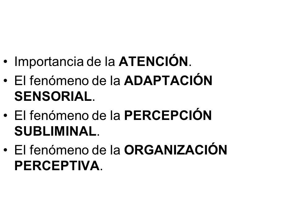 Importancia de la ATENCIÓN. El fenómeno de la ADAPTACIÓN SENSORIAL. El fenómeno de la PERCEPCIÓN SUBLIMINAL. El fenómeno de la ORGANIZACIÓN PERCEPTIVA