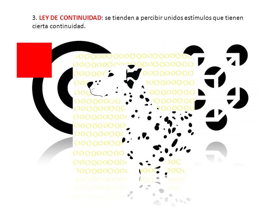 3. LEY DE CONTINUIDAD: se tienden a percibir unidos estímulos que tienen cierta continuidad. Fenómeno Phi (1912)