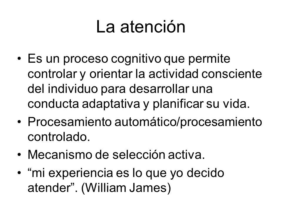 La atención Es un proceso cognitivo que permite controlar y orientar la actividad consciente del individuo para desarrollar una conducta adaptativa y