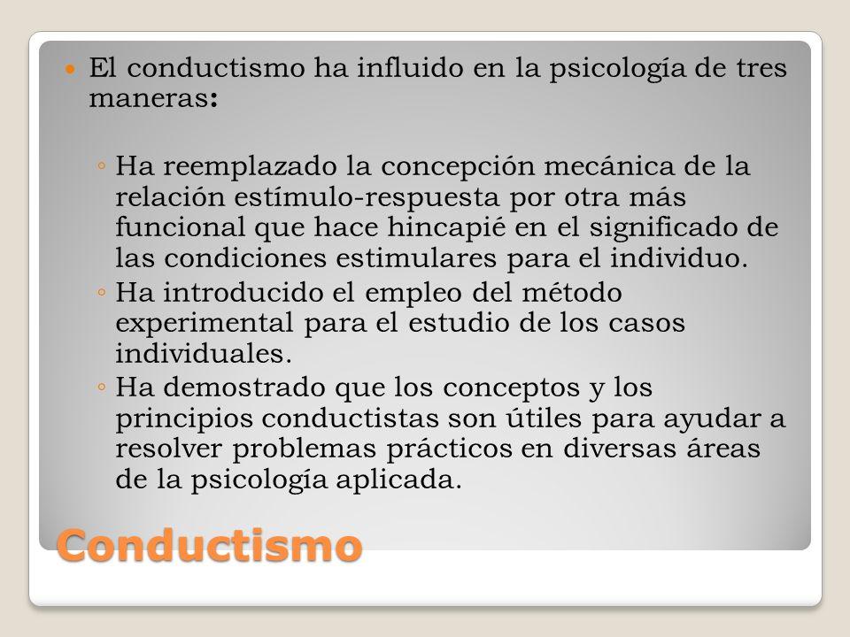 Conductismo El conductismo ha influido en la psicología de tres maneras : Ha reemplazado la concepción mecánica de la relación estímulo-respuesta por