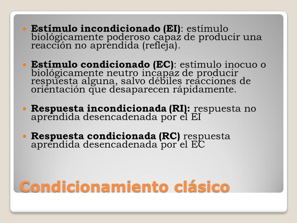 Condicionamiento clásico Estímulo incondicionado (EI) : estímulo biológicamente poderoso capaz de producir una reacción no aprendida (refleja). Estímu