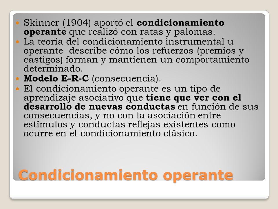 Condicionamiento operante Skinner (1904) aportó el condicionamiento operante que realizó con ratas y palomas. La teoría del condicionamiento instrumen
