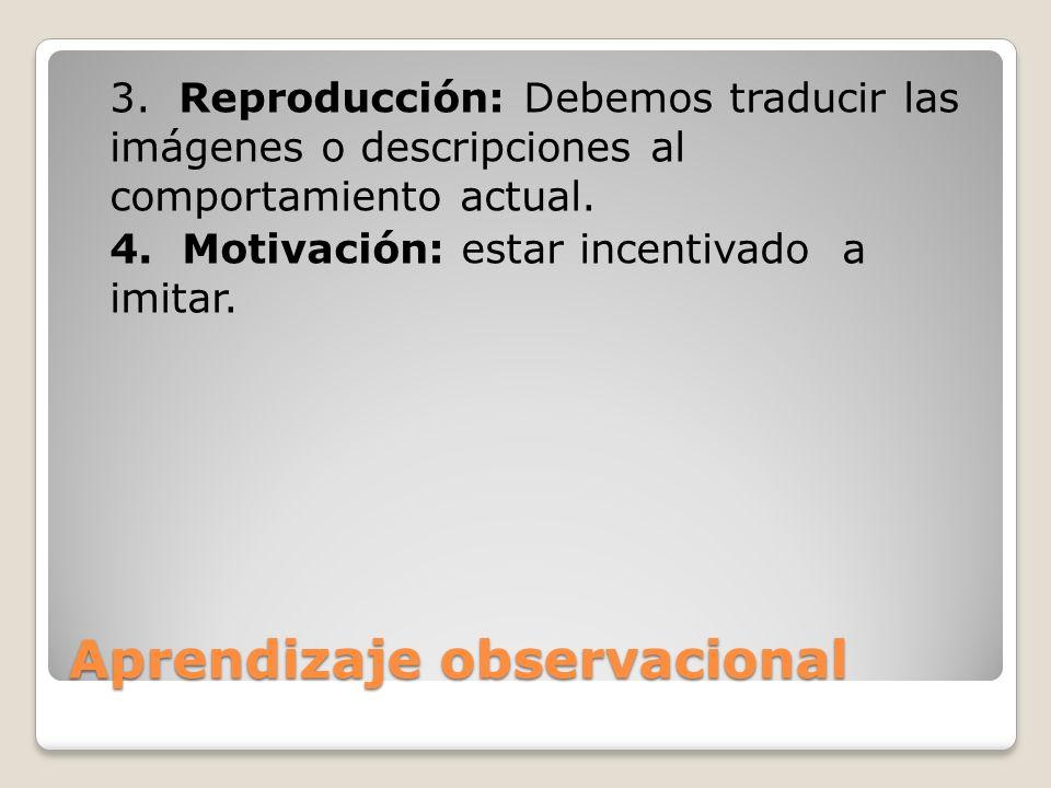 Aprendizaje observacional 3. Reproducción: Debemos traducir las imágenes o descripciones al comportamiento actual. 4. Motivación: estar incentivado a