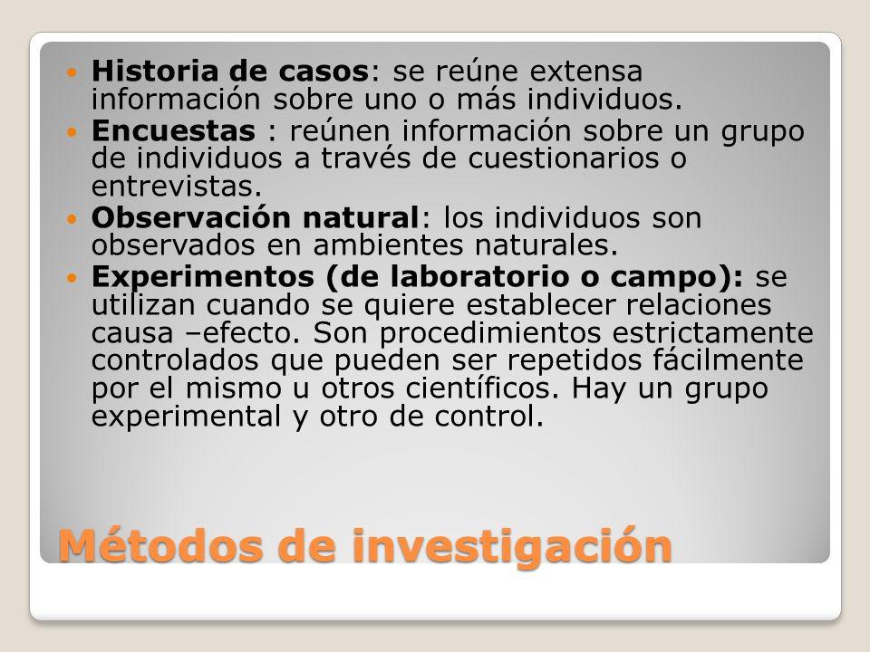 Métodos de investigación Historia de casos: se reúne extensa información sobre uno o más individuos. Encuestas : reúnen información sobre un grupo de