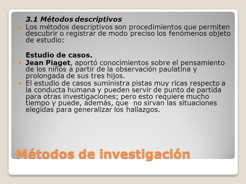 Métodos de investigación 3.1 Métodos descriptivos Los métodos descriptivos son procedimientos que permiten descubrir o registrar de modo preciso los f