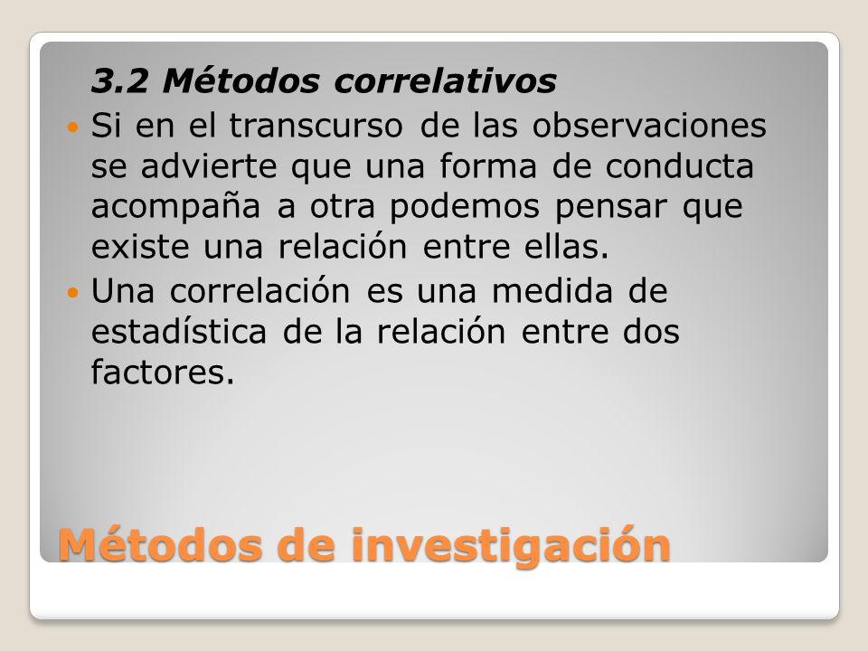 Métodos de investigación 3.2 Métodos correlativos Si en el transcurso de las observaciones se advierte que una forma de conducta acompaña a otra podem
