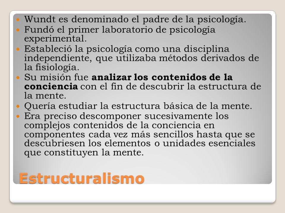 Estructuralismo Esta tarea se realizaba mediante el método llamado introspección analítica : Consistía en que personas especialmente adiestradas informasen detalladamente de sus propios estados emocionales y sensaciones a partir de las experiencias realizadas en el laboratorio.