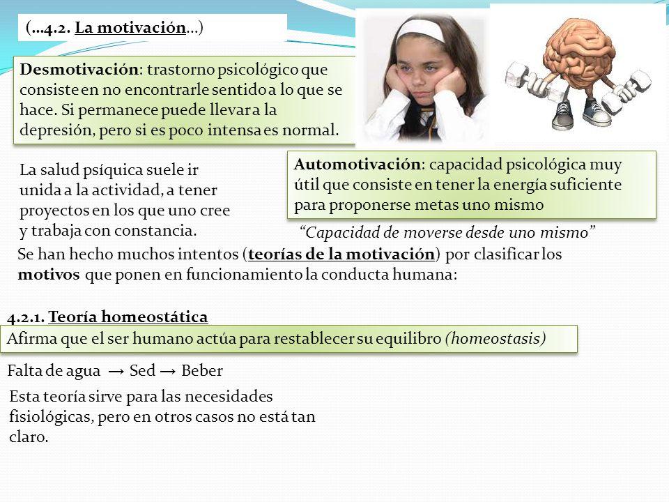 (…4.2. La motivación…) Desmotivación: trastorno psicológico que consiste en no encontrarle sentido a lo que se hace. Si permanece puede llevar a la de