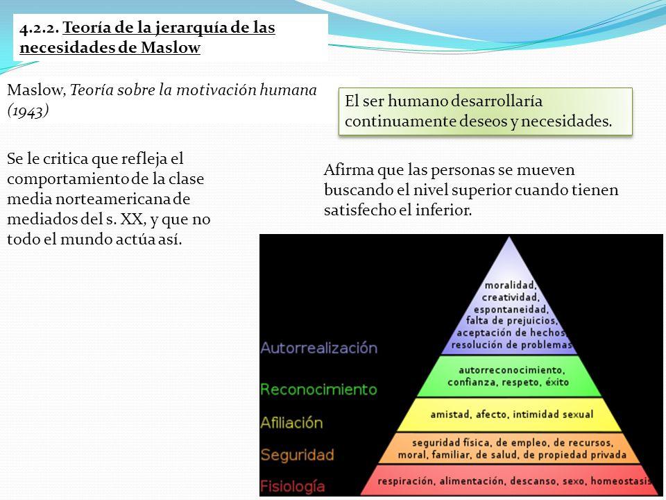 4.2.2. Teoría de la jerarquía de las necesidades de Maslow Afirma que las personas se mueven buscando el nivel superior cuando tienen satisfecho el in