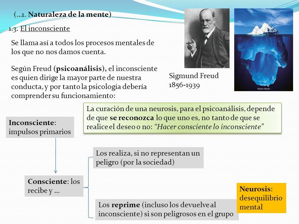 1.3. El inconsciente (…1. Naturaleza de la mente) Sigmund Freud 1856-1939 Se llama así a todos los procesos mentales de los que no nos damos cuenta. S