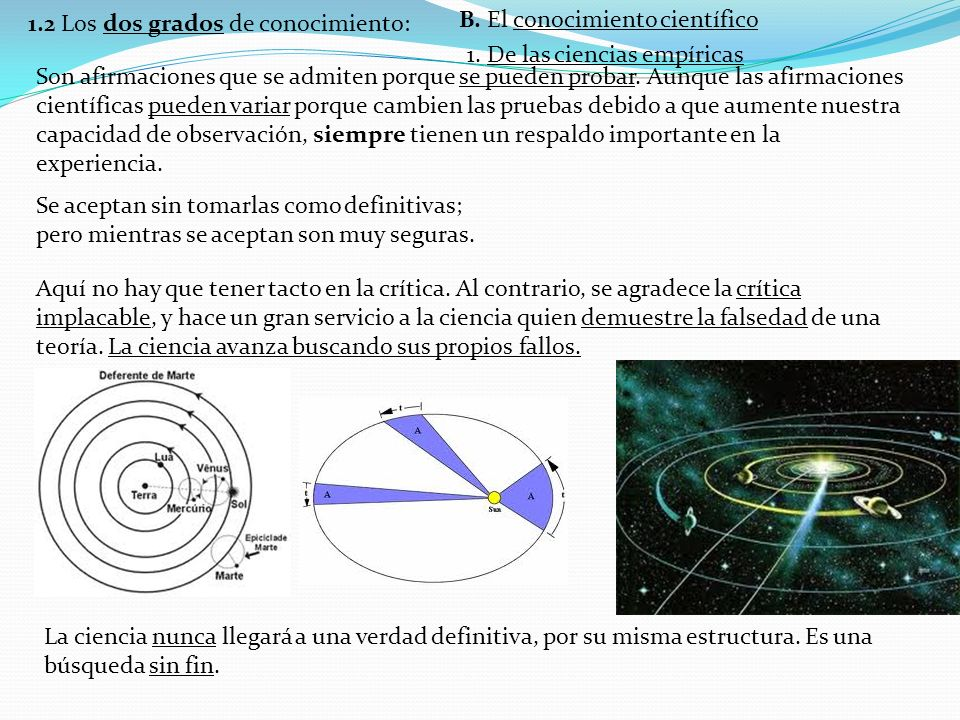 1.2 Los dos grados de conocimiento: B.El conocimiento científico 2.