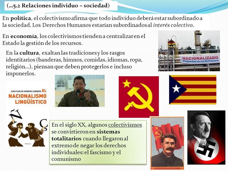 (…5.2 Relaciones individuo – sociedad) En política, el colectivismo afirma que todo individuo deberá estar subordinado a la sociedad. Los Derechos Hum