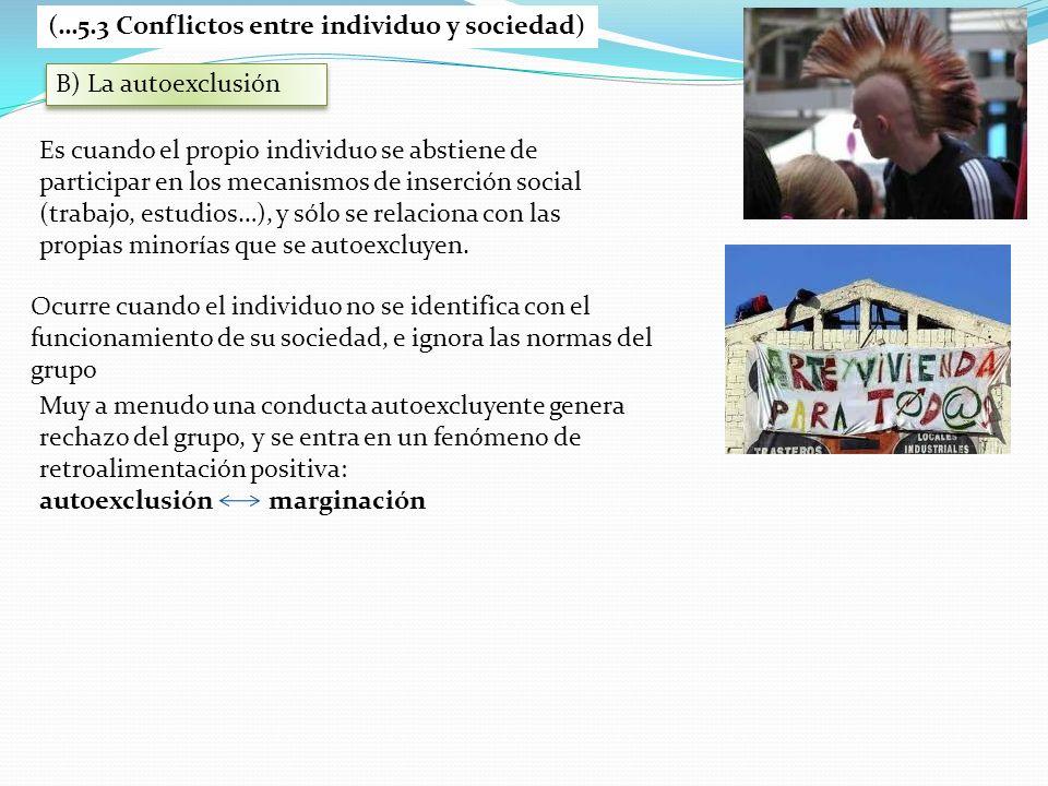 B) La autoexclusión (…5.3 Conflictos entre individuo y sociedad) Es cuando el propio individuo se abstiene de participar en los mecanismos de inserció