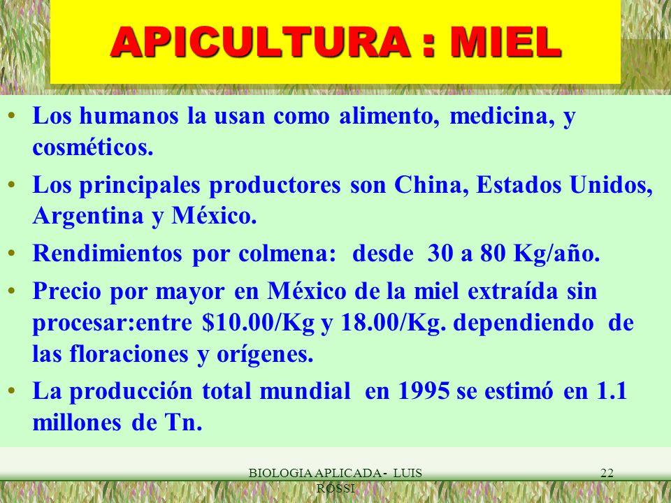 BIOLOGIA APLICADA - LUIS ROSSI 22 APICULTURA : MIEL Los humanos la usan como alimento, medicina, y cosméticos. Los principales productores son China,