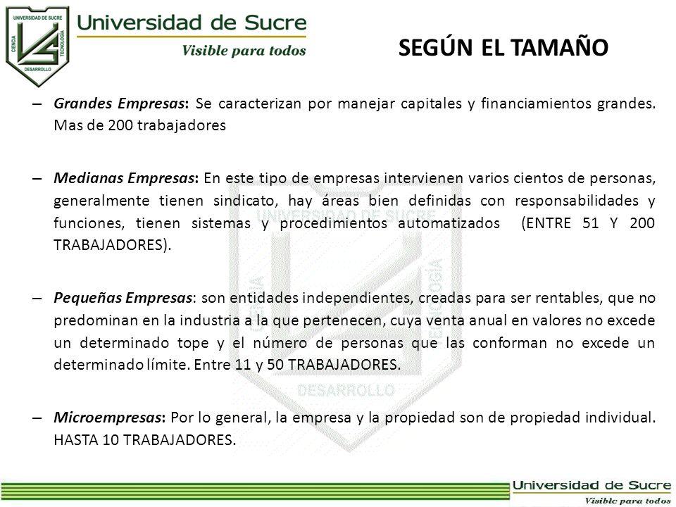 SEGÚN EL TAMAÑO – Grandes Empresas: Se caracterizan por manejar capitales y financiamientos grandes. Mas de 200 trabajadores – Medianas Empresas: En e