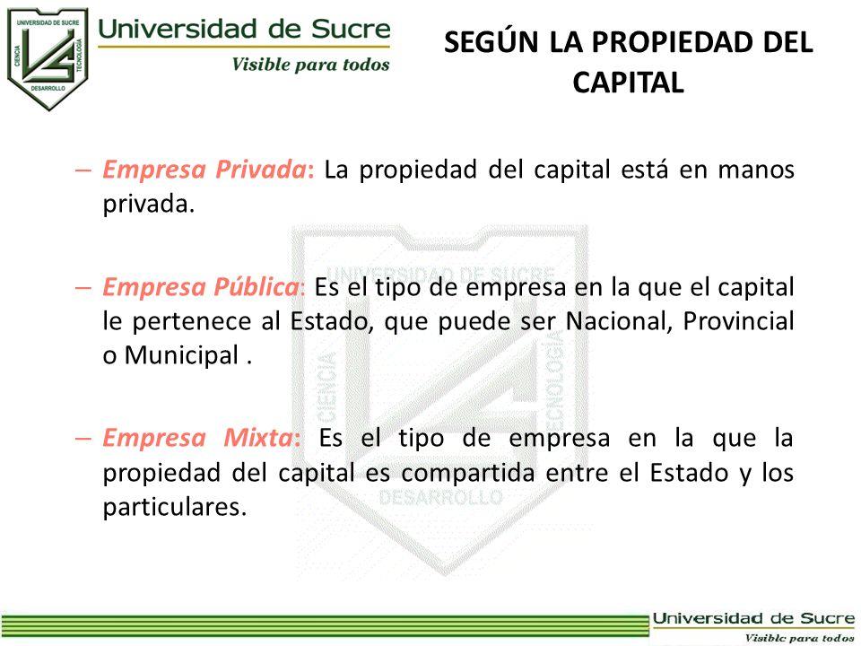 SEGÚN LA PROPIEDAD DEL CAPITAL – Empresa Privada: La propiedad del capital está en manos privada. – Empresa Pública: Es el tipo de empresa en la que e