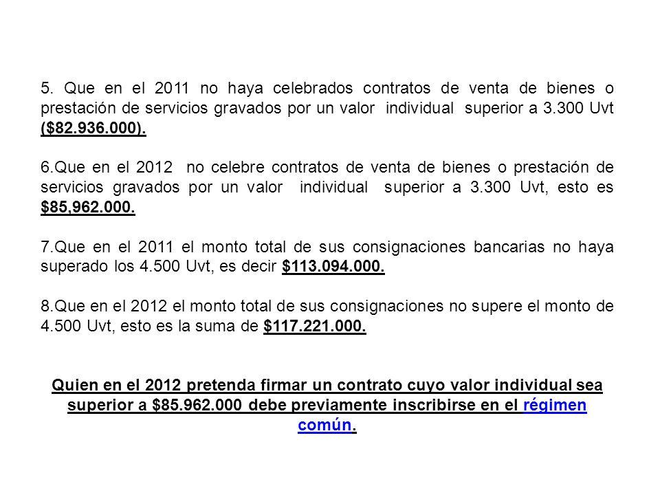 5. Que en el 2011 no haya celebrados contratos de venta de bienes o prestación de servicios gravados por un valor individual superior a 3.300 Uvt ($82